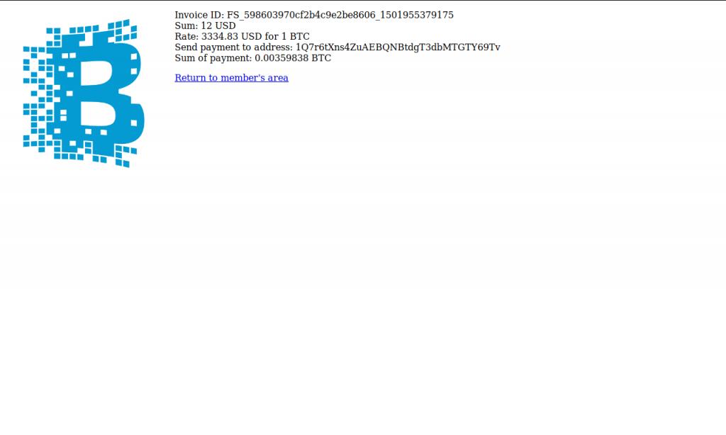 Bitcoin invoice (FileStream.me)