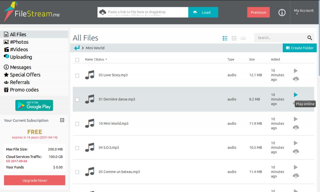 Browsing a music folder (FileStream.me)
