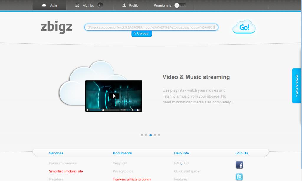 Downloading magnet link (ZbigZ)